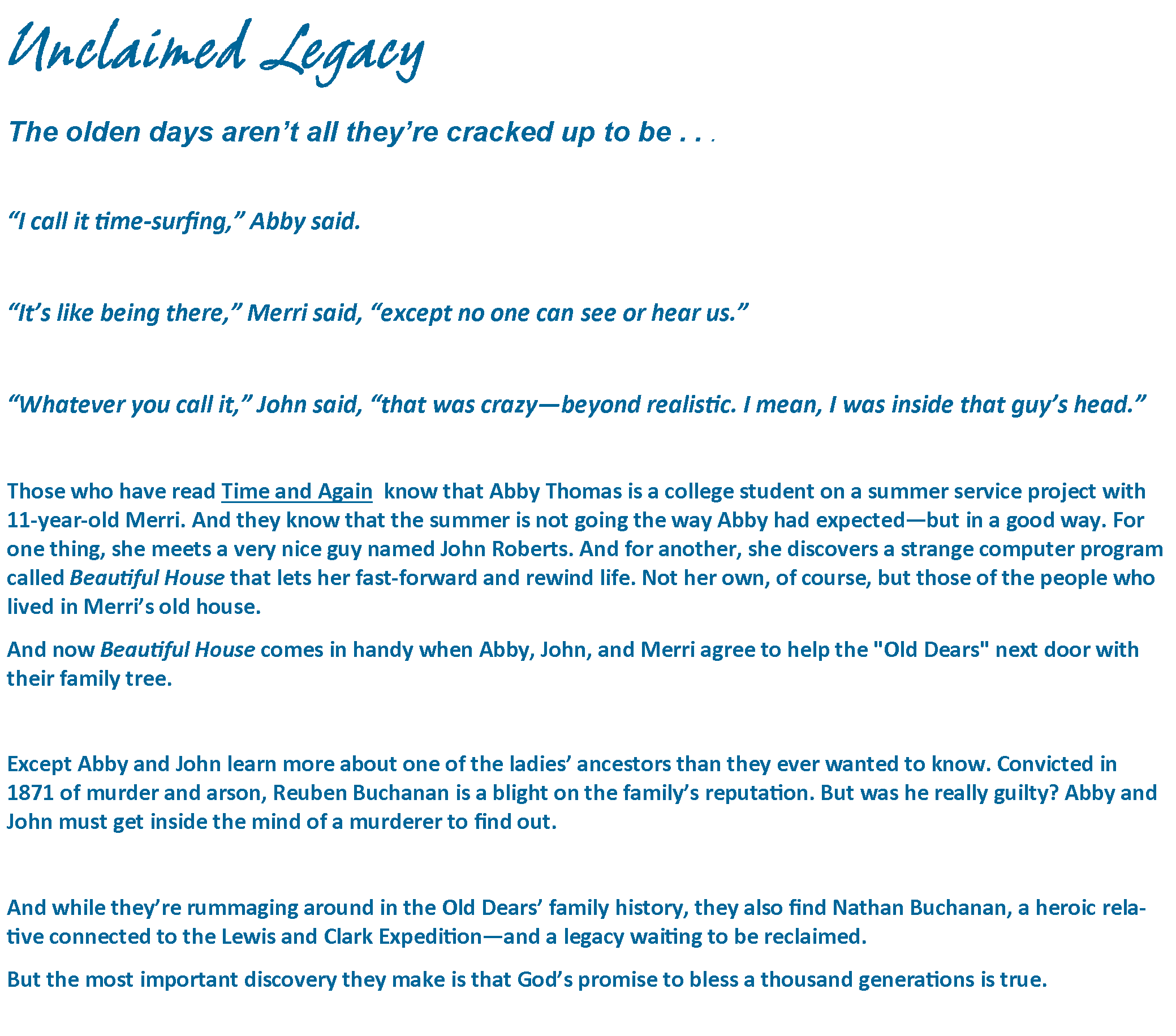 Unclaimed Legacy Blurb