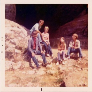 Here I am (the one in the middle) visiting the cave with my husband to be and three of my four siblings back in 1972.