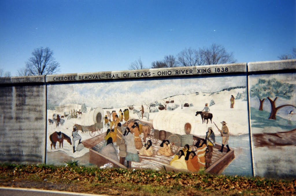 The Trail of Tears Mural at Golconda, Illinois.