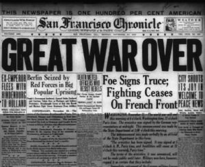 Newspaper headline: Great War Over